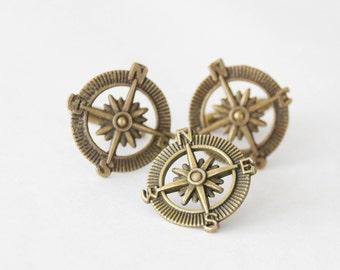 Cufflinks Tie Tack set, Compass Cufflinks, Compass Tie Tack, Rustic Compass Cuff Links Set, Nautical Cufflinks with Tie Tack, Gift for Men