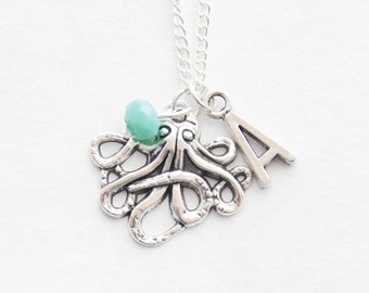 Personalized Octopus Necklace Silver Octopus Jewelry Nautical Necklace Tentacles Statement Necklace Gift Octopus Birthstone Initial Necklace