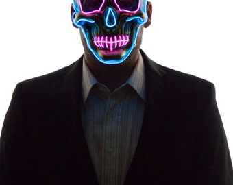 Glowing Skull Face Mask, Bones, Creepy, Scary, Rave Wear, Glow in the Dark Masquerade, Light Up, LED