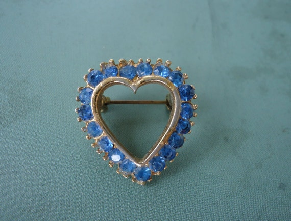 Blue Rhinestone Heart Shaped Brooch