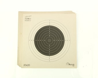 Vintage shooting target, set of 10 French Dartemis  50 m / yards paper target cards, collectible, home decor