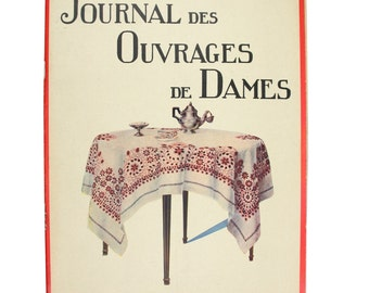 Antique embroidery Ouvrages de Dames 1931, french fashion, embroidery, monograms, needlework magazine, plus patterns
