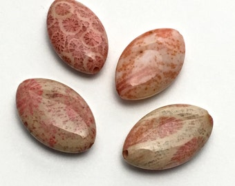 4 fossil coral stone beads, 12mm x 20mm  #PP039