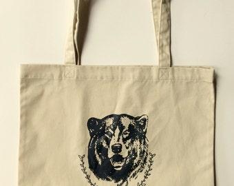 Bear Tote Bag, Screen Printed Organic Cotton Reusable Bag
