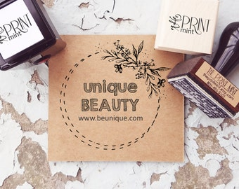 Custom Wreath Logo Stamp- Business Card Stamp- Calligraphy Business Stamp- Round Etsy Logo Rubber Stamp- Round Custom Business Stamp  10295