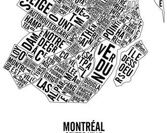 Downtown Montreal Neighbourhoods & Landmarks Typographic Map