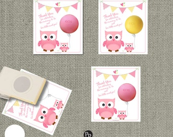 baby shower owl gift tags for eos lip balm instant download thank