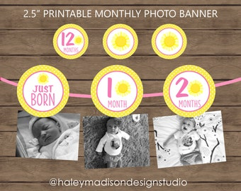 Sunshine, Pink, Yellow Monthly Photo Birthday Banner DIGITAL FILE