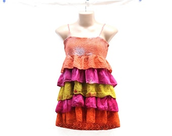 Upcycled Tie Dye Ruffled Top, OOAK Repurposed Hippie Clothes, Trippy Summer Festival Dress, Flowy Layered Top