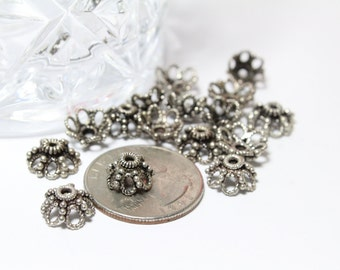 Sterling Silver 925 Bali Style Bead Caps 5x10mm 2pcs