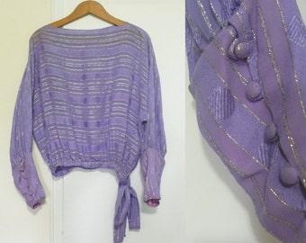 1970s Lavender Dolman Sleeve Blouse