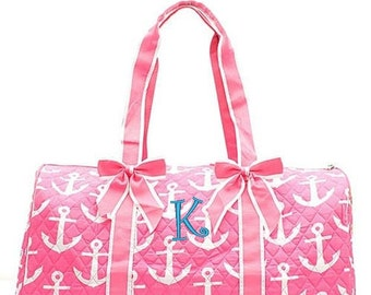 """Personalized Anchor Large Quilted Duffel Bag - Pink Monogrammed Embroidered 21"""" Weekender Cheer Dance Girls Kids"""