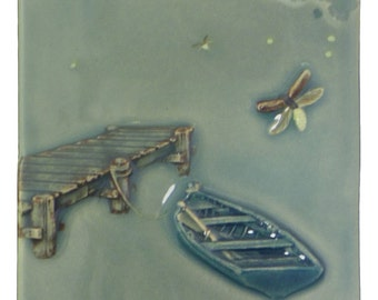 Ceramic art tile, Dockside Fireflies, home decor wall tile
