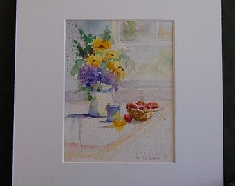 """Original Watercolor Painting - """"Springtime Fresh Bouquet"""" Matted and Ready to Frame - Camille Collins Painting"""