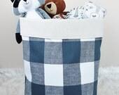 GUNMETAL PLAID Large Storage Bin Storage Basket Toy Organizer Fabric Bucket