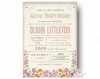 Adult Surprise Birthday Invites - Rustic Surprise Birthday Party Invitations (Printable) Surprise Birthday Invites - Floral Birthday Invite