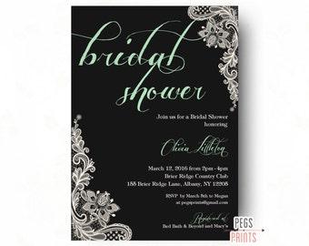 Lace Bridal Shower Invitation - Mint Bridal Shower Invitation Printable - Bridal Invitations - Mint Green Bridal Shower Invitation Printable