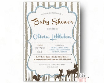 Woodland Baby Shower Invitation Boy - Woodland Shower Invitations - Deer Baby Shower Invitation - Forest Friends Baby Shower - Printable