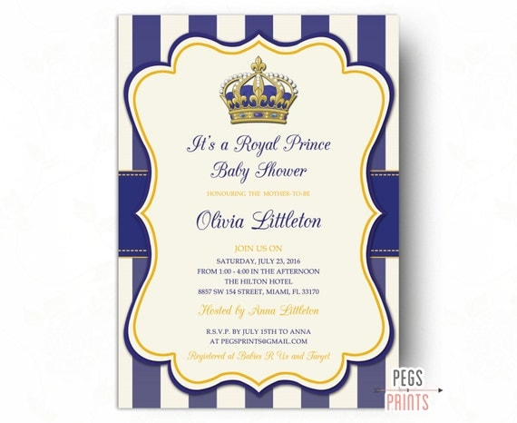 baby shower invitation printable royal baby shower invitation gold