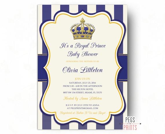 baby shower invitation printable royal baby shower invitation gold
