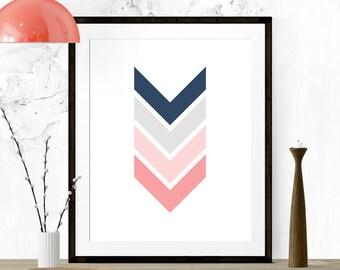 Blue and Pink Chevron Art, Chevron Print, Chevron Arrows, Chevron Nursery, Chevron Wall Print, Printable Art, Kitchen Print, Nursery Art