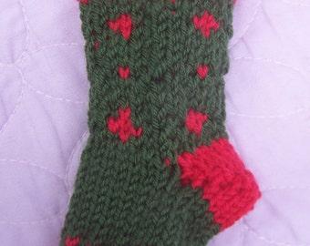 Handknit tree decoration, Patterned mini stocking, Christmas mini gift bag, Green mini stocking, Christmas decoration, Mini Xmas stocking