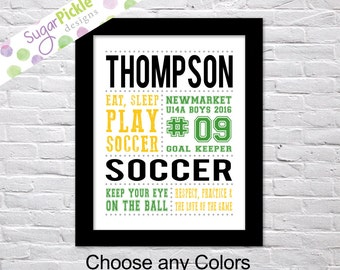 Soccer art, Soccer Print, Soccer Subway Art, Soccer Stats Art, Soccer Wall Art, Soccer printables, Team Gift, Personalized,
