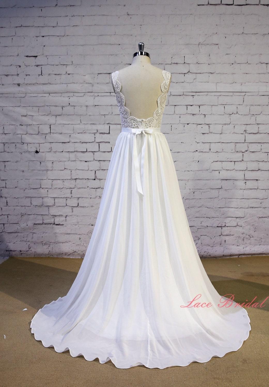 Exquisite lace wedding dress v shape lace neckline wedding for A shaped wedding dresses