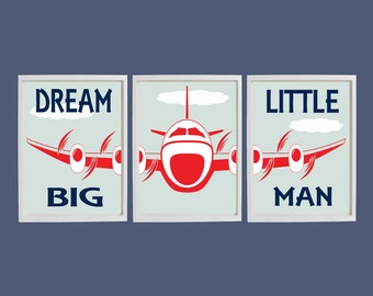 Dream Big Little Man Print, Airplane Art, Playroom Wall Art, Aviation Art, Boys Bedroom Wall Art, Nursery Wall Art, Airplane Nursery Decor