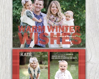 Printable Christmas card with photos - Warm winter wishes - Plaid - Flannel - Family facts on back - Photo holiday card - Customizable