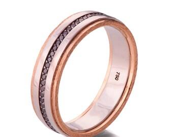Gold Wedding Band, Men's 18K Rose Gold and Black Diamond Wedding band, steampunk , Wedding ring, black and gold ring, steampunk band, 18