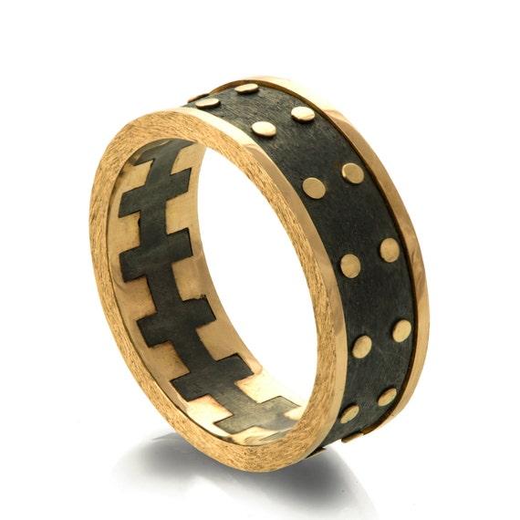 Gold Wedding Band Mens 18K Gold And Oxidized Silver Wedding Band Steampunk Wedding Ring
