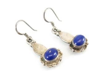 Vintage Lapis Lazuli Earrings, Sterling Silver, Dangles, Hooks, Signed JQI 925