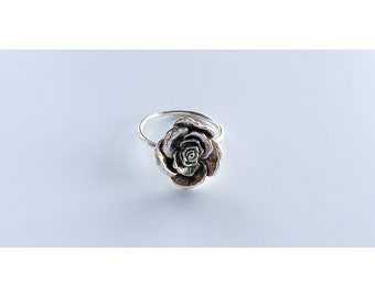 Rose Ring - Sterling Silver - Flower Ring - Silver Rings - Sterling Rings, stacking rings