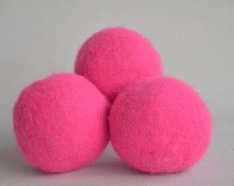 XL Wool Dryer Balls - Canadian Wool - Hot Pink Dryer Balls