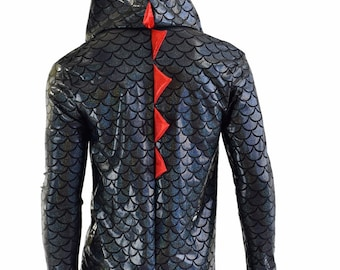 Mens Long Sleeve Black Dragon Zipper Front Top with Red Sparkly Jewel Hood Lining & Spikes -152465