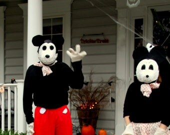 1930 Style Handmade Mickey and Minnie Mouse Costumes, Couple Costume, Instant Costume, Disney Dress Up, Spooky, Halloween, OOAK WTH-887
