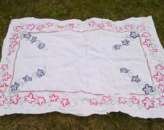 Vintage Embroidered Cross Stitch Pink Blue Green Floral Large Rectangle Linen Tablecloth - 50 X 64