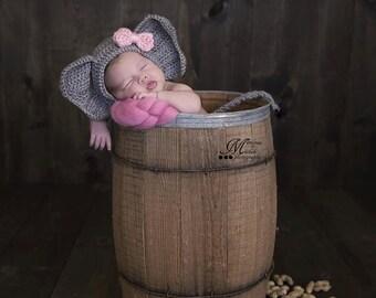 Crochet Pattern - Newborn Elephant Hat and Unattached Tail Photo Prop, Crochet Animal Newborn Photography, Baby Safari Theme Crochet Pattern