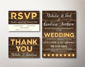 Rustic Wedding Invitation, Printable Wedding Invitation Suite, Fall Winter Wedding, Marquee Wedding Invitation, Carnival Wedding Invitation