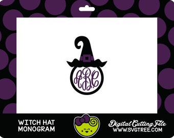 Witch SVG Witch Hat SVG Monogram Halloween SVG Commercial Free Cricut Files Silhouette Files Digital Cut Files svg cut files