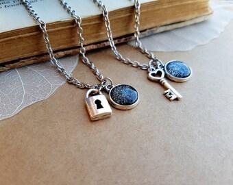 2 Key and Padlock Necklaces, Key Necklace, Key Lock choker, Lock Necklace, matching necklaces, skeleton key, best friend necklaces Dark Moon