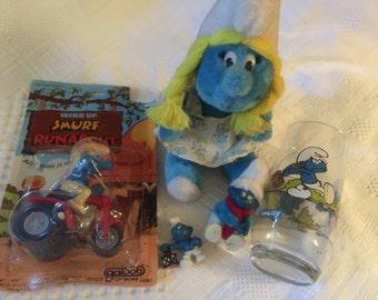 Assorted Vintage Smurf items