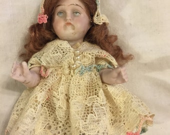 Darling antique German all bisque miniature doll
