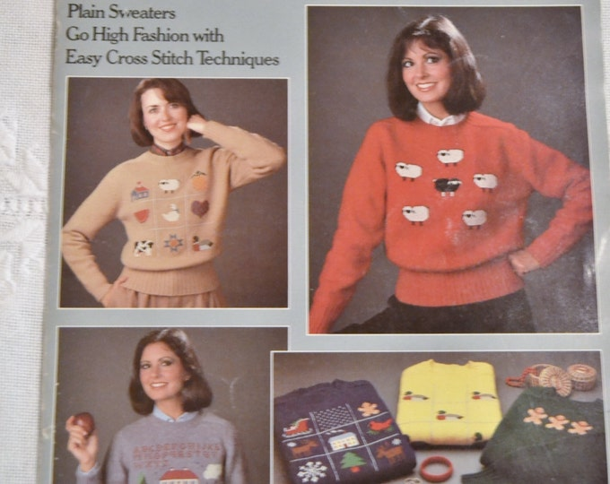 The Sweater Book for Cross Stitchers Embroidery Charts Designs Patterns Vintage Instructions DIY Panchosporch