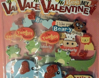 3 Packs Valentine's Love Paper House 3D Stickers Wild About You Animal Cute Sayings Valentine Wobbly Eyes