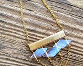 Geometric Necklace with Moonstone bohemian jewelry