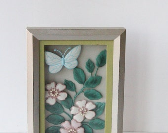 Butterfly Wall Hanging. Pastel Insect Diorama.