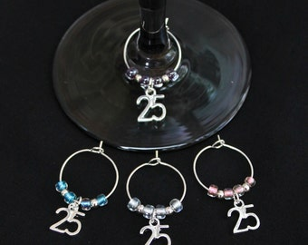 25th Birthday/Silver Wedding Anniversary Wine Glass Charms-SALE-Set of 4-S25/002-4