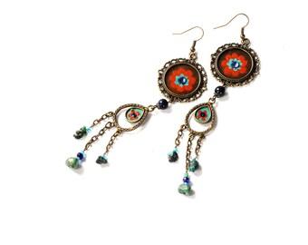 Long Boho Earrings Hand Painted Turquoise Bohemian Hippie Jewelry